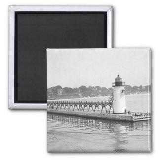 South Haven South Pierhead Lighthouse 2 Inch Square Magnet