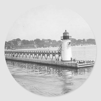South Haven South Pierhead Lighthouse Classic Round Sticker