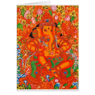 SOUTH INDIAN LORD GANESH TANJORE PAINTING CARD