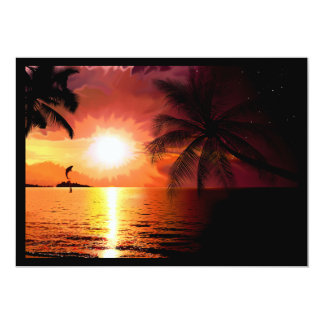 south-island-565242. FANTASY TROPICAL EVENING PALM 5x7 Paper Invitation Card