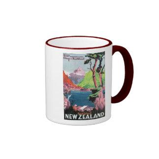South Island New Zealand Travel Poster Ringer Coffee Mug