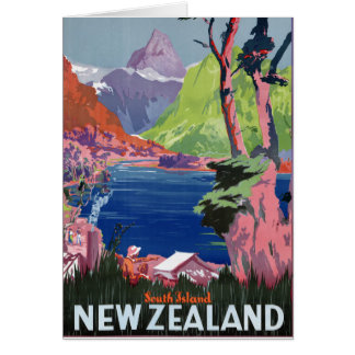 South Island New Zealand Vintage Poster Restored Card