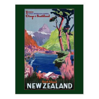 South Island New Zealand Vintage Poster Restored Postcard