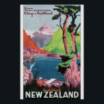 "South Island New Zealand Vintage Travel Poster<br><div class=""desc"">This product features South Island New Zealand vintage travel poster artwork. 