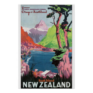 South Island New Zealand Vintage Travel Poster at Zazzle