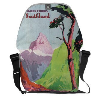 South Island New Zealand Vintage Travel Poster Courier Bag