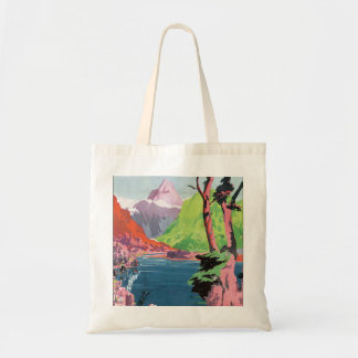 South Island New Zealand Vintage Travel Poster Tote Bag