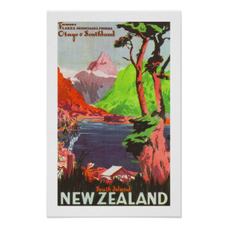 South Island New Zealand (white) Poster