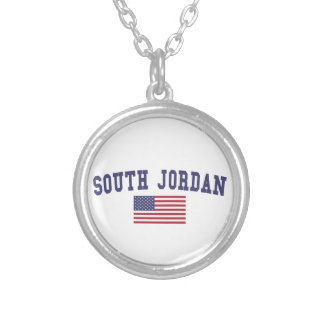 South Jordan US Flag Round Pendant Necklace