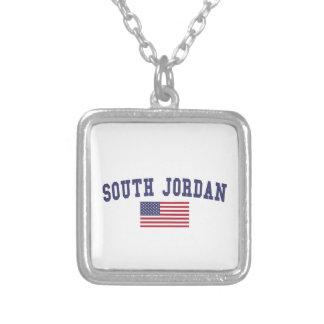 South Jordan US Flag Square Pendant Necklace