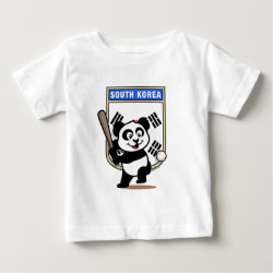 Baby Fine Jersey T-Shirt with South Korea Baseball Panda design