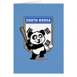 Greeting Card with South Korea Baseball Panda design