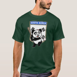 Men's Basic Dark T-Shirt with South Korea Baseball Panda design