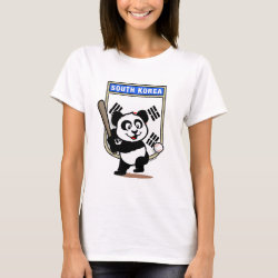Women's Basic T-Shirt with South Korea Baseball Panda design