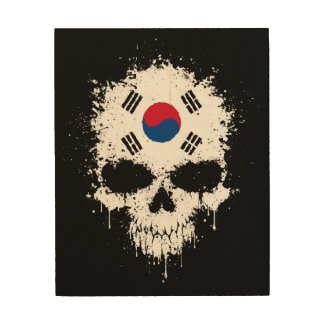 South Korea Dripping Splatter Skull Wood Wall Decor