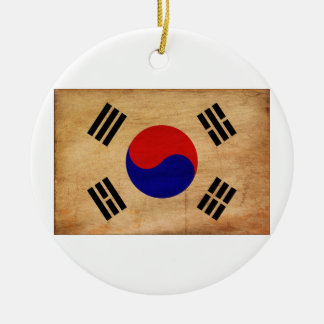 South Korea Flag Double-Sided Ceramic Round Christmas Ornament
