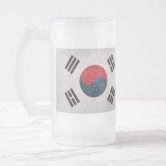 South Korea Flag; Frosted Glass Beer Mug