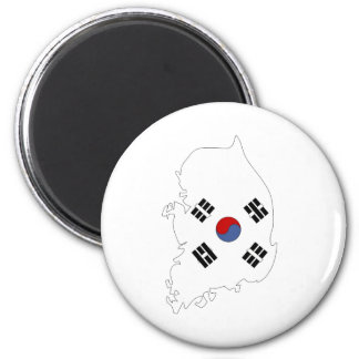 South Korea Flag Map full size 2 Inch Round Magnet