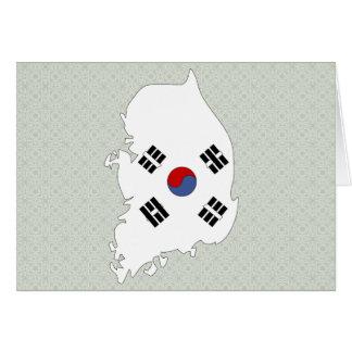 South Korea Flag Map full size Card