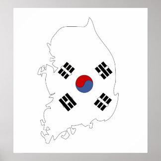 South Korea Flag Map full size Poster