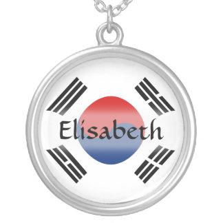 South Korea Flag + Name Necklace