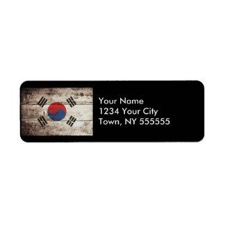 South Korea Flag on Old Wood Grain Label
