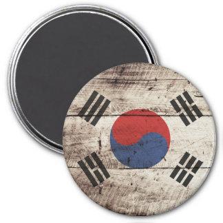 South Korea Flag on Old Wood Grain Magnet