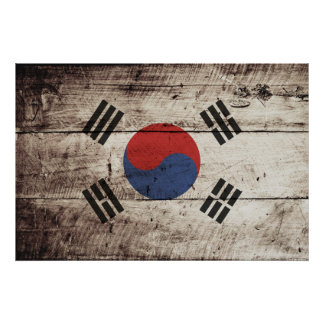South Korea Flag on Old Wood Grain Poster