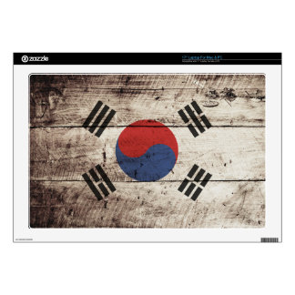South Korea Flag on Old Wood Grain Skins For Laptops