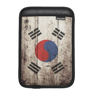 South Korea Flag on Old Wood Grain Sleeve For iPad Mini