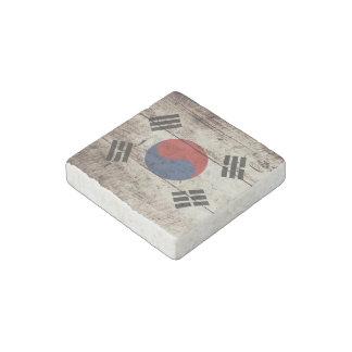 South Korea Flag on Old Wood Grain Stone Magnet