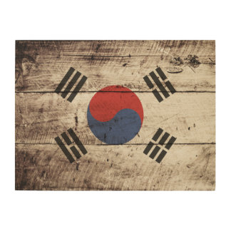 South Korea Flag on Old Wood Grain Wood Wall Art