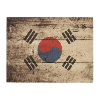 South Korea Flag on Old Wood Grain Wood Wall Art