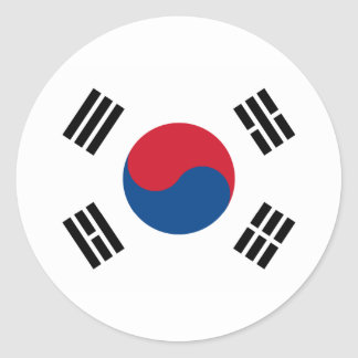 South Korea Flag Round Stickers (pack)