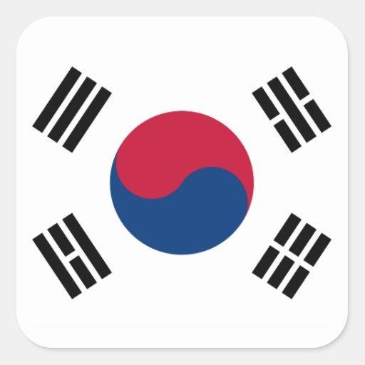 South Korea Flag Square Stickers