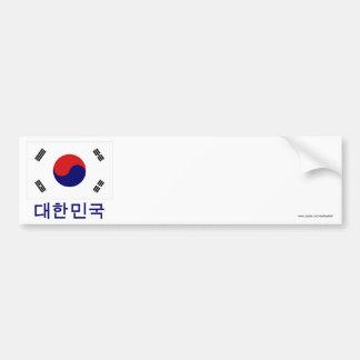South Korea Flag with Name in Korean Bumper Sticker