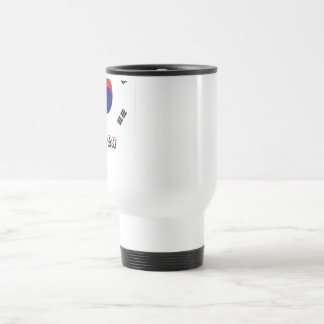 South Korea Flag with name in Russian Travel Mug