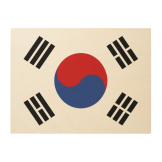 South Korea Flag Wood Wall Art
