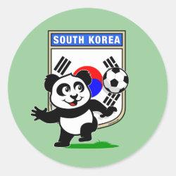Round Sticker with South Korea Football Panda design