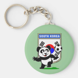 Basic Button Keychain with South Korea Football Panda design