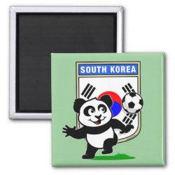 Square Magnet with South Korea Football Panda design