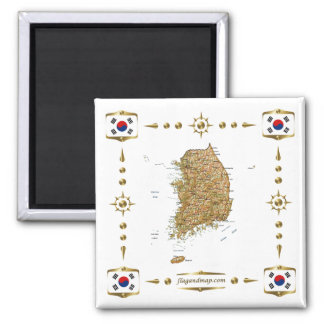 South Korea Map + Flags Magnet