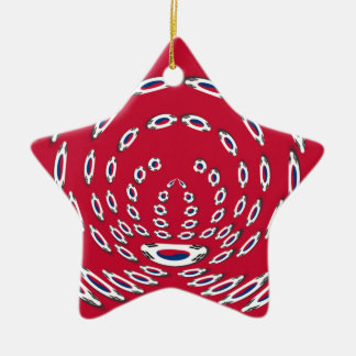 South Korea Polka Dot flag Ceramic Ornament