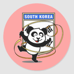 Round Sticker with South Korea Rhythmic Gymnastics Panda design