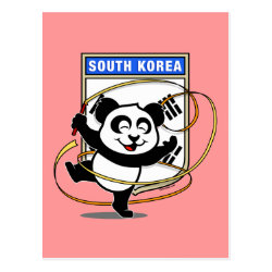 Postcard with South Korea Rhythmic Gymnastics Panda design