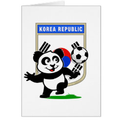 Greeting Card with South Korea Football Panda design