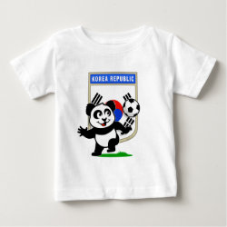 Baby Fine Jersey T-Shirt with South Korea Football Panda design