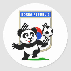 Round Sticker with South Korea Football Panda design