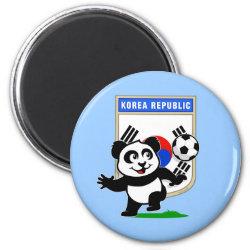 Round Magnet with South Korea Football Panda design