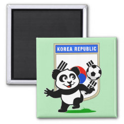 Square Magnet with South Korea Football Panda design